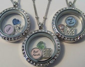 Custom Bridal Party Necklaces, CHOOSE 1 or more, with your choices of birthstone heart, initial and custom round charm