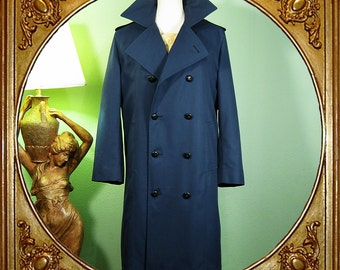 Men's 60s blue nautical double-breasted trench coat. S.