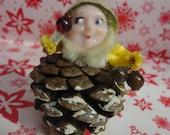 Vintage Christmas Pine Cone Gnome Elf Putz