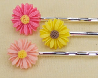 3 Pink and Yellow Daisy Hairpins