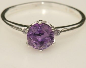 Purple Amethyst Ring , Sterling Silver Ring , US Size 6 , February Birthstone Ring , Purple Ring by Maggie McMane Designs