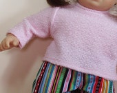 Bitty or Twins Doll Clothes - Multi-colored Corduroy Pants and Pink Sweater