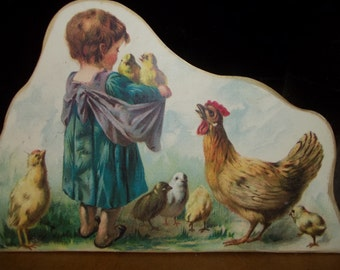 Chickens Wooden Stand Up Art Girl with Chickens by Moonlight & Roses