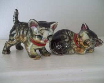 Kitten Figurines Ceramic Cat Set of 2