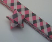 Origami Lucky Star Strips  -  Pink and Gray Diagonal Plaid pack of 25