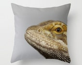 Ode To Spike The Bearded Dragon Pillow Cover Lizard Pillow Sweet Pet Scales Natural History Spike Gray Macro Lizard Print