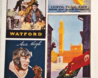 antique print  WW1 era posters1926