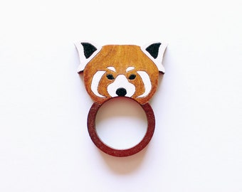 Red Panda Wooden Ring . Wooden Jewelry Jewellery . Red Bear Cat . Gift for Her . Cute Ring . Gift for Teens . Animal Lover . Outdoor Lover