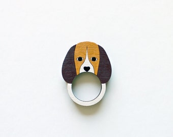 Beagle Dog Wooden Ring . Wooden Jewelry Jewellery . Animal Ring . Fox Hound . Dog Ring . Gift for Her . Animal Lover . Dog Lover . Teen Gift