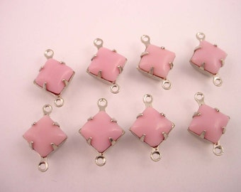 6 Vintage Pink  Rose Opaque Glass 8mm Square Connector silver  Charms 8x8