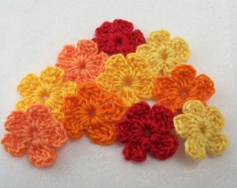 Crochet Fall Flower Appliques - Small Forget Me Nots