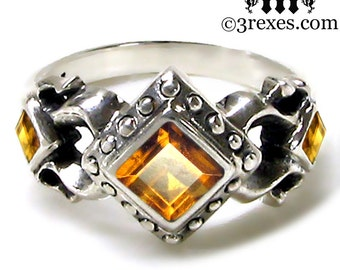 Royal Princess Gothic Wedding Band Citrine Size 8