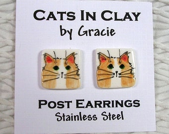 Fluffy Orange & White Cat Post Earrings Handmade In Kiln Fired Clay by Gracie