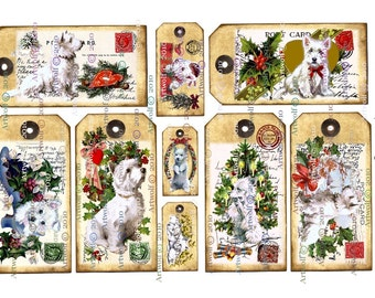 CHRISTMAS  DIGITAL Tags WESTIES Instant Download westie Printable Dogs Scrapbook Party Cardmaking Journal