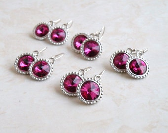 Swarovski Earrings Hot Pink Fuchsia Rivoli Sterling Silver