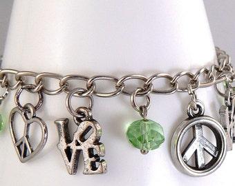 Rustic Love Charm Bracelet, Peace Charm Bracelet, Silver Charm Bracelet, Green Crystal Charm Dangles, Light Green Crystal Bracelet (2253)