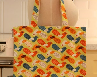 Book Bag Tote Purse - Orange and Blue Birds