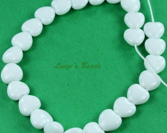 25 Opaque White Czech Pressed Glass Heart Beads 8/8mm