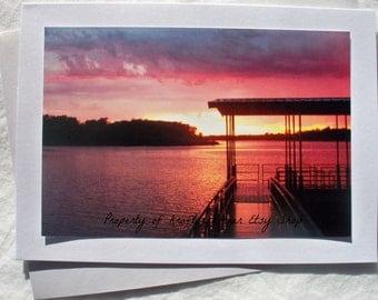 Photo Card Beautiful Sunset Over Lake With Envelope 5 x 7 White Sparkly or Ecru