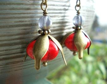 Pitanga Earrings for women exotic fruit berry pomegranate dangle earrings vegan style gemstone bead brass red pumpkin drop earrings stone