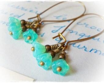 Mint Opal Flower Earrings long dainty dangle earrings for women bellflower handmade jewelry fairy faerie flower drops antiqued brass bronze