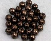 Czech Glass Druk Beads, 6mm Round, Antique Bronze, 30 Pc. C410