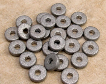 Round Washer, Greek Ceramic Beads, 8mm, Silver Earthy, 25 Pieces, M248