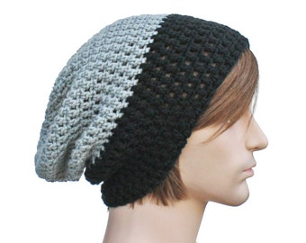 Black and Grey Slouch Beanie