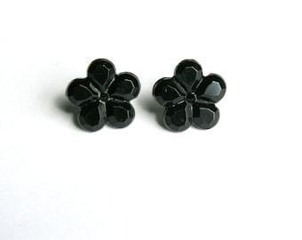 Black Flower Earrings, Simple Floral Studs