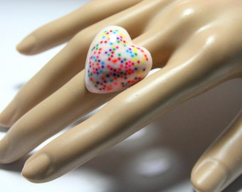 White Sprinkles Ring, Resin Rainbow Heart, Candy Jewelry, Kitsch Kawaii