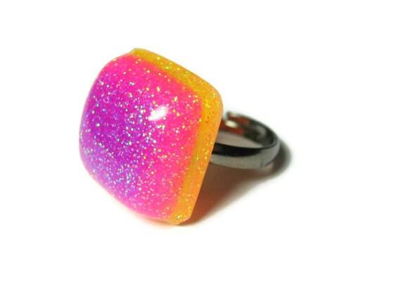 Neon Resin Ring, Glitter Rainbow Square, Pink, Purple, Adjustable Gun Metal Ring Band