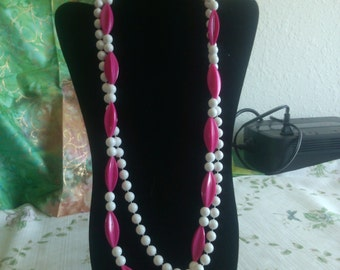 Large Magenta Starfruit Beads and Snowy White 10 mm Bead Double Strand Necklace