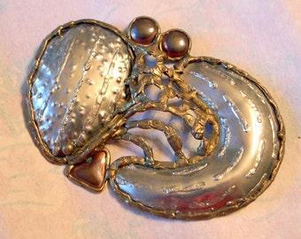 Brutalist Crab Sculpture - Belt Buckle - SALE Huge Crab - Silver Brass Copper - 1970's - Abstract Modernist Mixed Metals - Handmade -OOAK