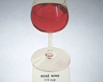Vintage 1970s Food or Nutrition Die Cut Cardboard School Decoration of a Glass of Rose Wine