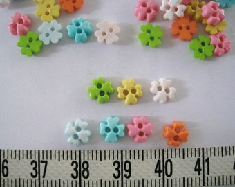 100pcs of Tiny Four Petal Flower Buttons - 6 mm - poff white yellow blue pink  green orange