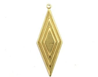 Long Diamond Layered Drop Charm Raw Brass Pendant (4) CP255