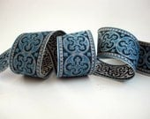 2 yards  BYZANTINE Jacquard trim in metallic antique silver and turquoise. 1 5/8 inch wide. 958-Q