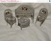 10% OFF TODAY Vintage Park Bench, Chairs and Table, Aluminum, hand painted floral, Victorian Style Wicker, Metal Set, Dollhouse Miniatures
