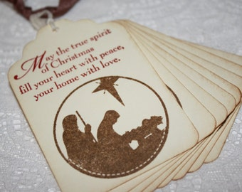 Handmade Vintage Style Nativity Silhouette Gift Tags - True Spirit of Christmas