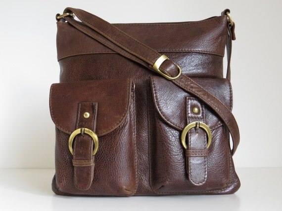 Leather Messenger Bag Shoulderbag Handbag Brown