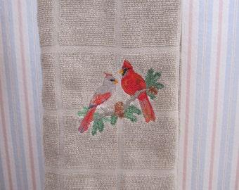 Cardinals on Tan Kitchen Towel