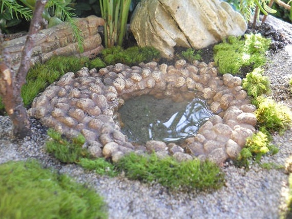 Miniature fairy garden stone pond for Miniature fish pond