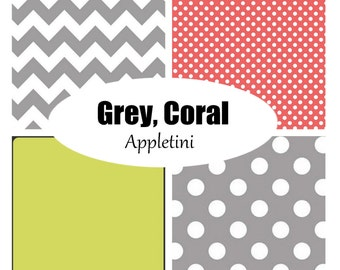 Custom Crib Bedding-Grey, Coral Appletini