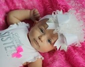 boutique WHITE and SILVER over the top hair bow with headband
