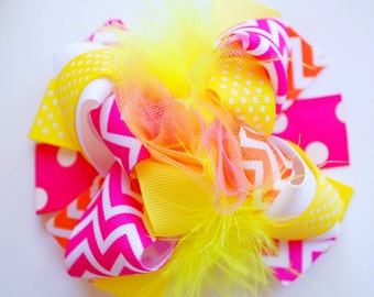 boutique MINI mod shocking PINK and YELLOW hair bow clip