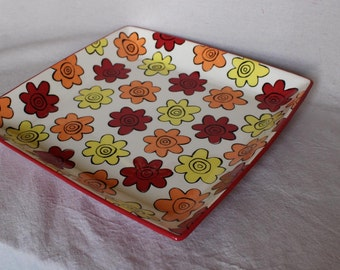 hand painted pottery, large square platter with bright flowers