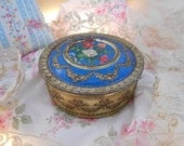 antique shabby pink and white roses candy tin, gold rose garlands and swags, ribbons, roses, bright blue, ormolu look, shabby french style