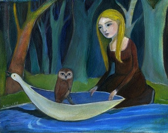 Art Print, Owl, Woods, Woman, Fantasy