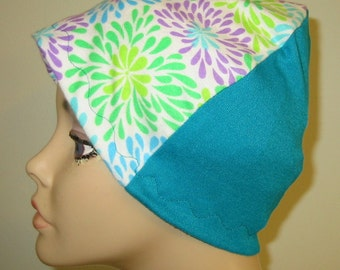 Turquoise, Green, Purple  Flannel Sleep Cap, Chemo Hat, Cancer Cap, Alopecia