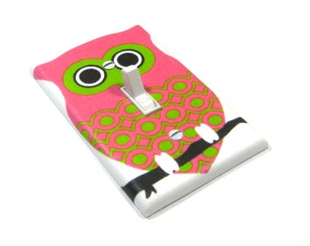 Hot Pink and Lime Green Owl Light Switch Cover Owl Decor Owl Bedroom Owl Nursery